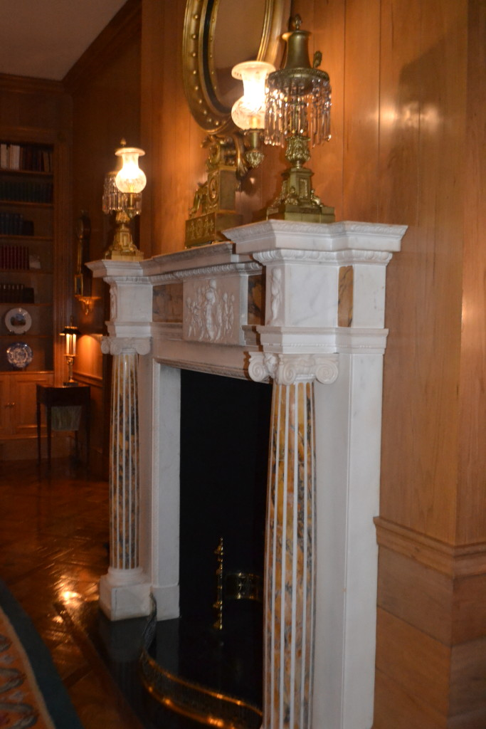 The fireplace in the family sitting room