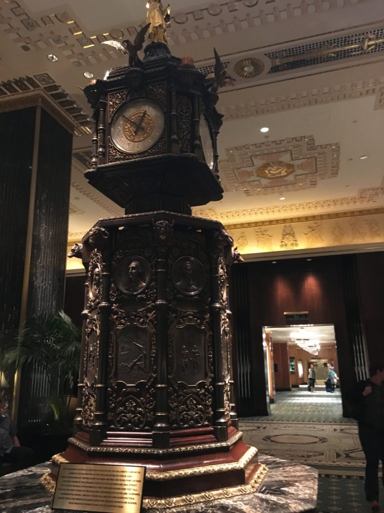 The lobby at the Waldorf Astoria Hotel