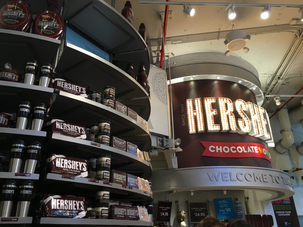 Hershey's store is smaller and only one level