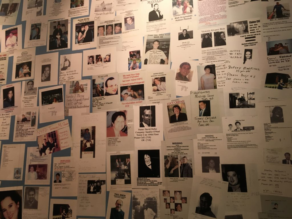 At the 9/11 Tribute Center, visitors can see posters of the missing.