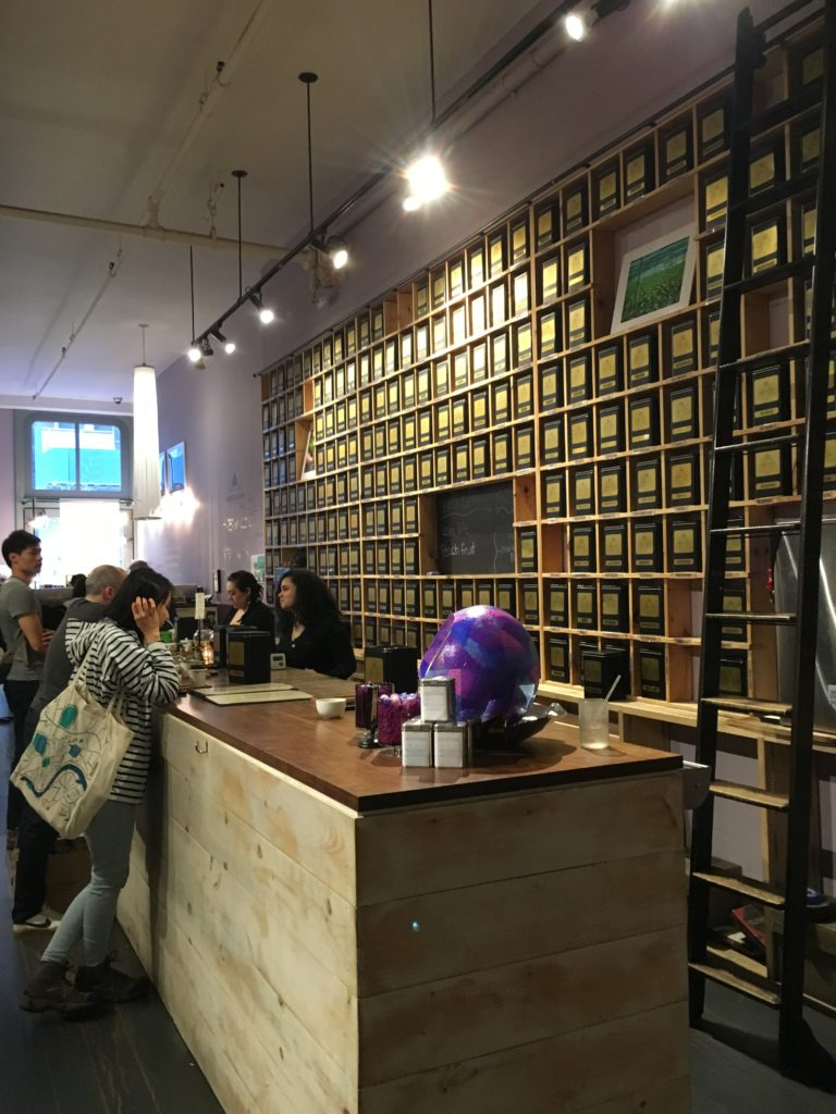 Tea tasting bar at Harney & Sons