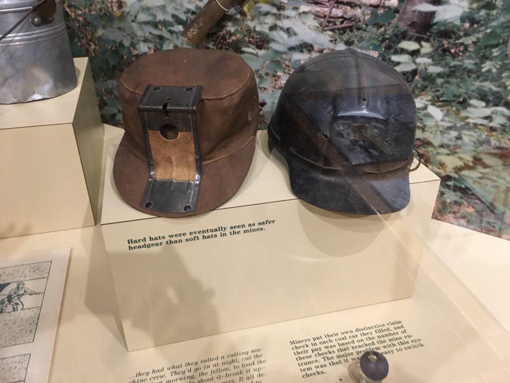 Display of early coalminer hats